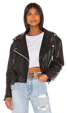 Charlie Leather Moto Jacket GRLFRND $750 Collections