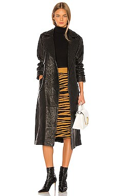 Lori Leather Trench Coat GRLFRND $998