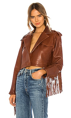 Sadie Leather Fringe Jacket GRLFRND $798 Collections