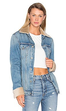 Daria Oversized Denim Trucker Jacket with Sheep Fur Trim in Band of Gold