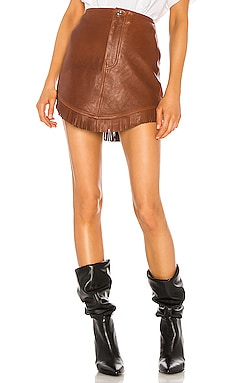 Sadie Leather Fringe Mini Skirt GRLFRND $246