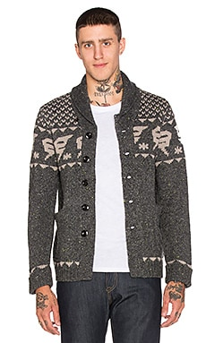 G-Star Draha Heavy Wool Slub Cardigan in Raven Heather