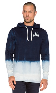 G-Star Indigo Hooded Dip Bleach Sweatshirt in Indigo