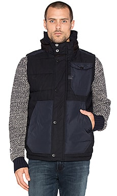 G-Star Wolker Padded Indigo Herringbone Vest in Raw