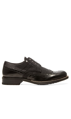 G-Star Manor Caxton II Lo Oxford in Black Leather Denim