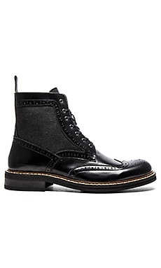 G-Star Trent Brogue Boot Mix in Black Leather Denim
