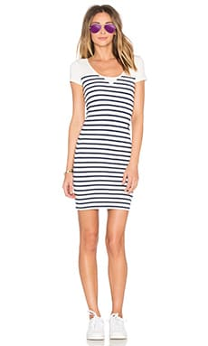 Short Sleeve Stripe Dress in Milk & Sapphire Blue
