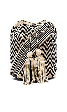 Guanabana Large Bucket Crossbody in Black & White