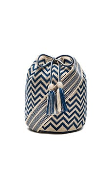 Large Chevron Bucket in Azul