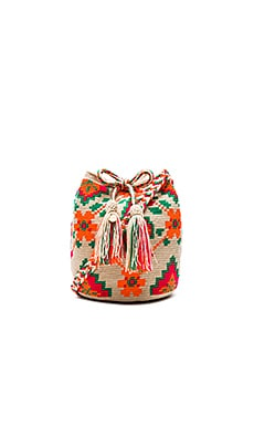 Guanabana Floral Medium Bucket Bag in Orange & Pink & Green