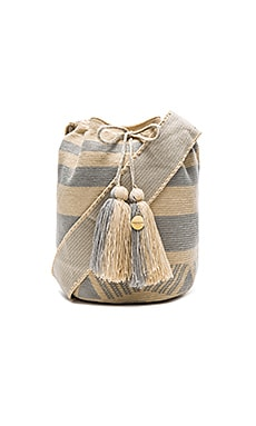 Stripe Large Bucket Bag in Grey