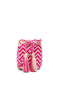 Zig Zag Medium Bucket Bag in Pink