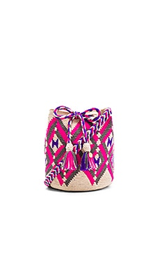Guanabana Tribal Medium Bucket Bag in Pink & Blue & Green