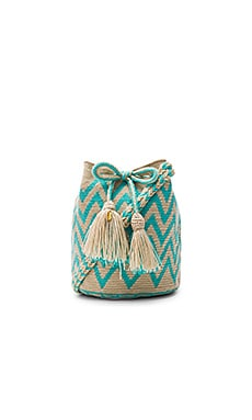 Guanabana Zig Zag Medium Bucket Bag in Turquoise