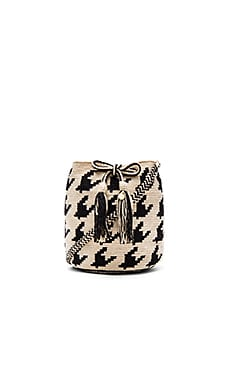 Guanabana Houndstooth Medium Bucket Bag in Black