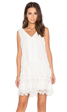 Greylin Brodie Crochet Trim Dress in White