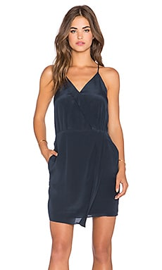 Sera Silk Cross Front Dress in Indigo