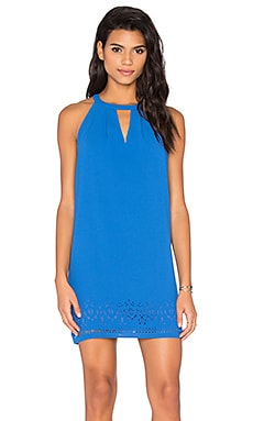 Melissa Laser Cut Shift Dress in Blue