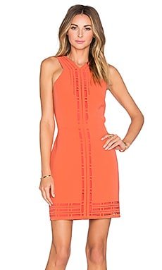 Millany Laser Cut Dress in Coral