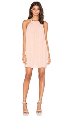 June Pleated Lace Back Dress in Blush