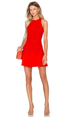 Jaylee Lace Applique Cross Back Dress in Red