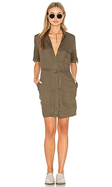 Elisia Linen Shirt Dress in Olive