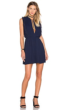 Greylin Liana Fringe Dress in Navy