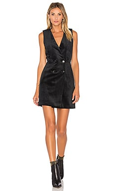 Thompson Velvet Tuxedo Dress en Noir