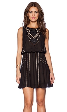 Greylin Babushka Embroidered Dress in Black