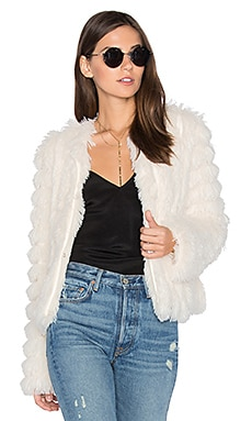 Natalie Faux Fur Jacket in Ivory