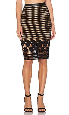 Greylin Oscar Grid Lace Pencil Skirt in Black