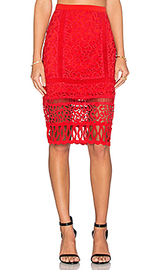 Melrose Lace Pencil Skirt en Hibiscus