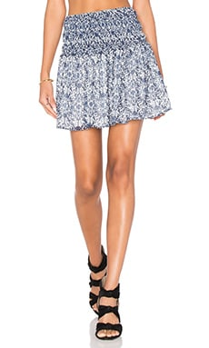 Jessalyn Smocked Printed Skirt en Bleu Perle