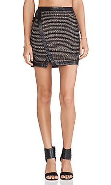 Greylin Czar Tweed Wrap Skirt in Black
