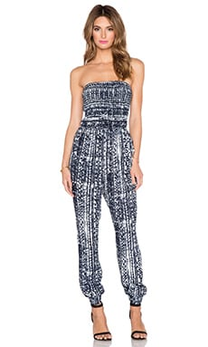 Greylin Ebba Smocked Jumpsuit in Navy