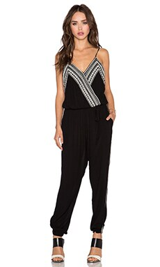 Greylin Inez Embroidered Jumpsuit in Black