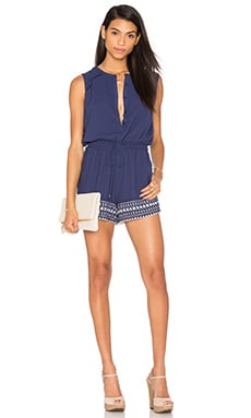 Greylin Jemma Laser Cut Romper in Blue