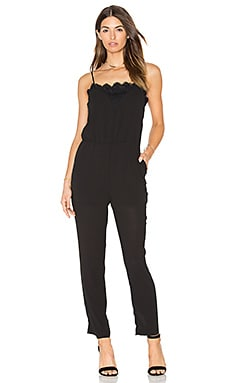 Greylin Alina Lace Trimmed Jumpsuit in Black