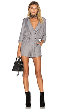 Greylin Ria Shirt Wrap Over Romper in Slate Grey