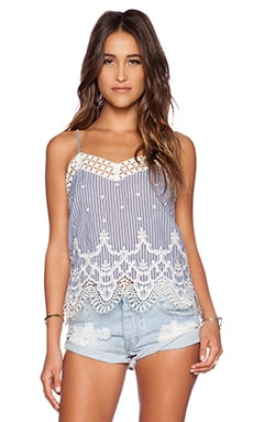 Greylin Mindi Lace Trim Tank in Blue