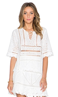 Greylin Kellie Eyelet Blouse in White