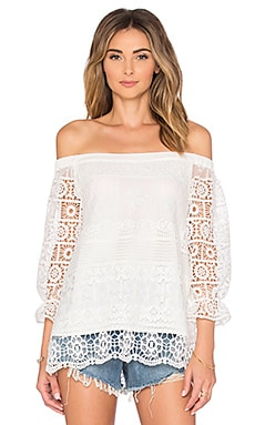 Greylin Shilla Off Shoulder Lace Top in White
