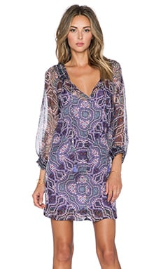 Gypsy 05 Long Sleeve Peasant Dress in Multi Mauve