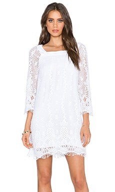 Gypsy 05 Crochet 3/4 Sleeve Mini Dress in White