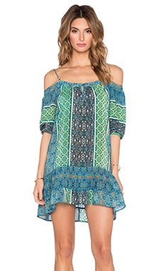 Gypsy 05 Printed 3/4 Sleeve Peek A Boo Mini Dress in Emerald