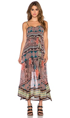 Gypsy 05 Printed Hankerchief Maxi Dress in Black Multi