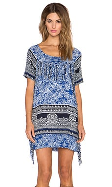 Gypsy 05 Printed Fringe Mini Dress in Navy