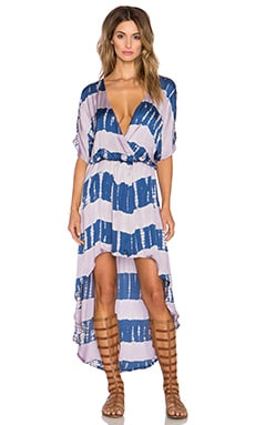 Gypsy 05 Crosss Over Hi-Low Maxi Dress in Navy