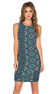 Gypsy 05 Shirred Mini Dress in Blue Multi