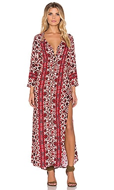 Gypsy 05 Printed Lace Maxi Dress in Ivory